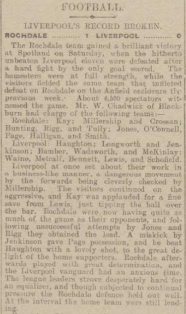 1917 Rochdale v Liverpool Rochdale Observer 1
