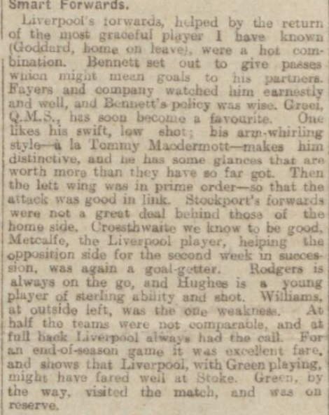 1918 Liverpool v Stockport County Echo 2
