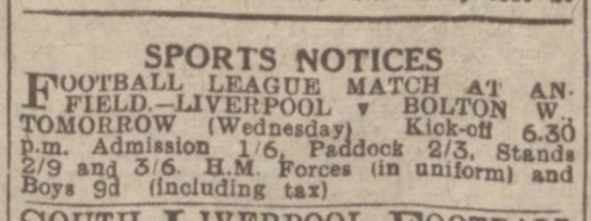1945 ad Liverpool v Bolton Wanderers