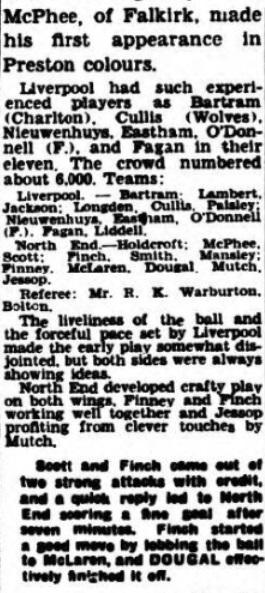 1940 Liverpool v Preston North End Lancashire Evening Post 2