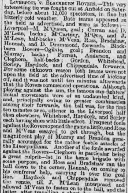 1895 Liverpool v Blackburn Rovers Lancashire Cup 1